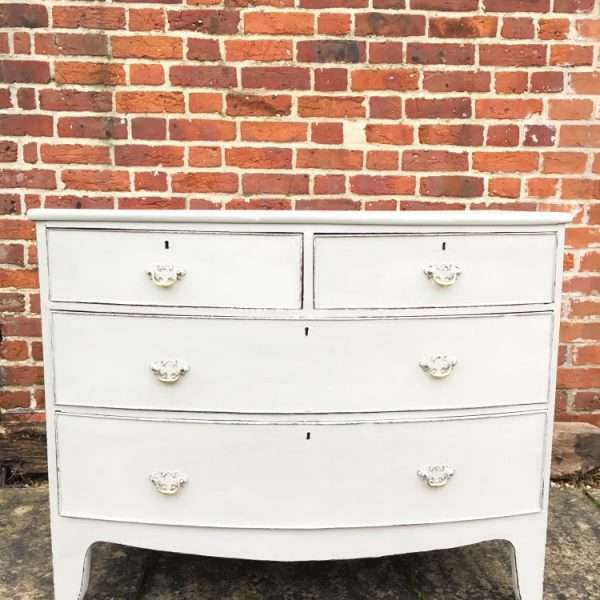 Regency Painted Mahogany Bow Front Chest