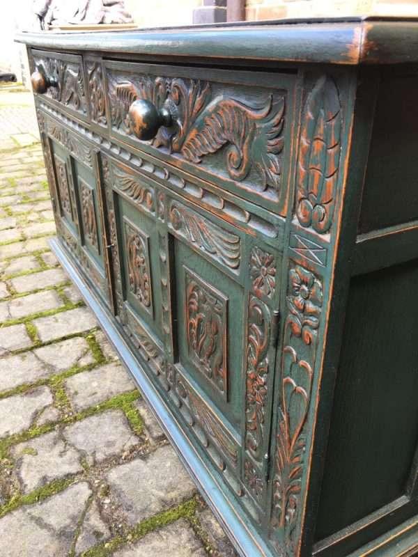 1960's Painted Oak Jacobean Style Cupboard SOLD – Ref:1255