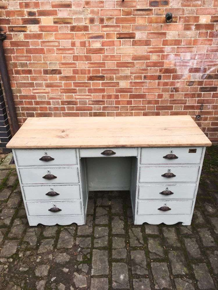 Late Victorian Painted Oak Desk Ref 1250 Old Painted