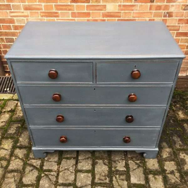Early Victorian Painted Oak Chest Of Drawers2