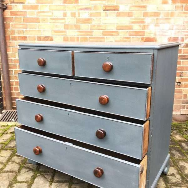 Early Victorian Painted Oak Chest Of Drawers