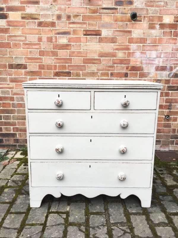 Early Victorian Painted Oak Chest Of Drawers SOLD- Ref:1267