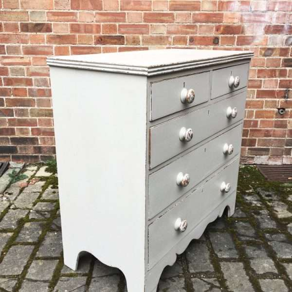 Early Victorian Painted Oak Chest Of Drawers1