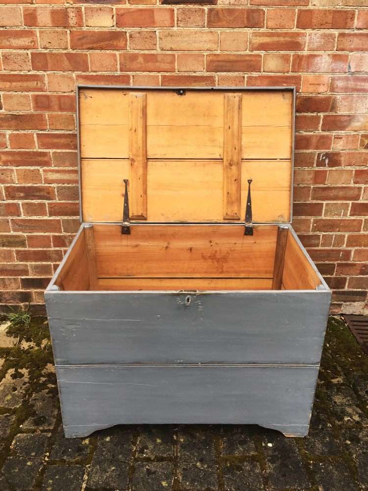 Mid Victorian Painted Pine Blanket Chest2