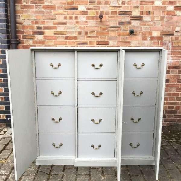 Edwardian Painted Mahogany 12 Drawer Cabinet5