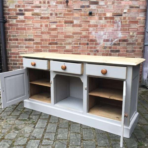 Mid Victorian Painted Pine Dresser Base2