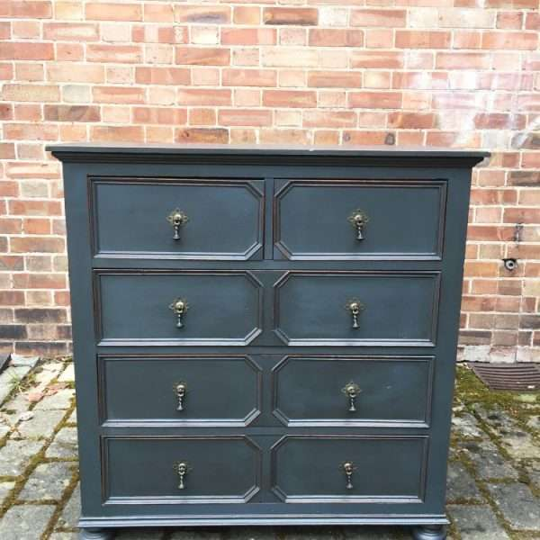 Edwardian Painted Oak Chest Of Drawers