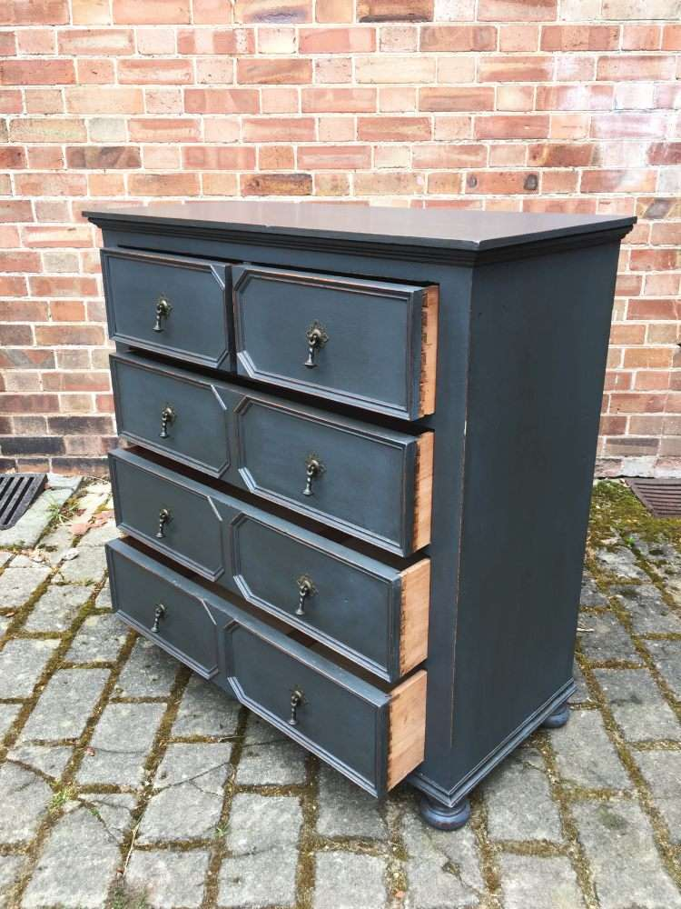 Edwardian Painted Oak Chest Of Drawers2