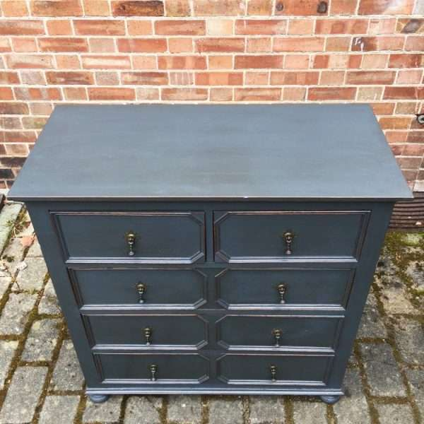 Edwardian Painted Oak Chest Of Drawers3