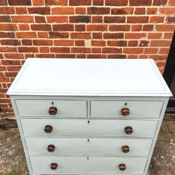 Early Victorian Painted Mahogany Chest Of Drawers