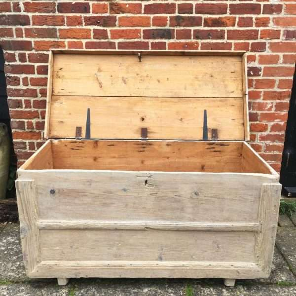 Early Victorian Rustic Bleached Pine Box1