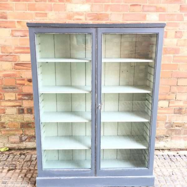Late 19th Century Painted Pine Glazed Bookcase