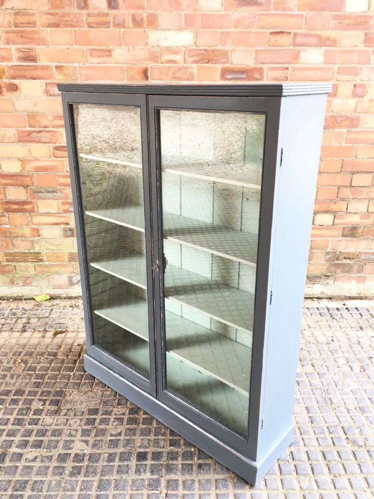 Late 19th Century Painted Pine Glazed Bookcase1
