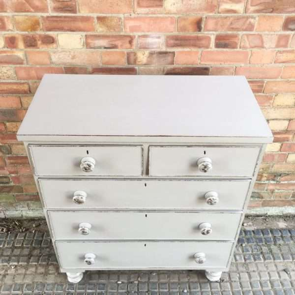 Late Victorian Painted Mahogany Chest Of Drawers