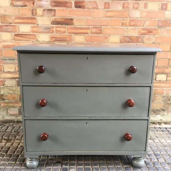 Mid Victorian Painted Mahogany 3 Drawer Chest3
