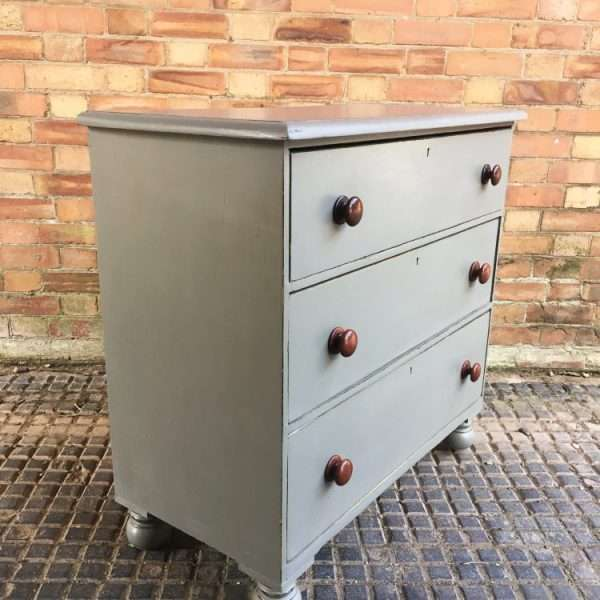 Mid Victorian Painted Mahogany 3 Drawer Chest2