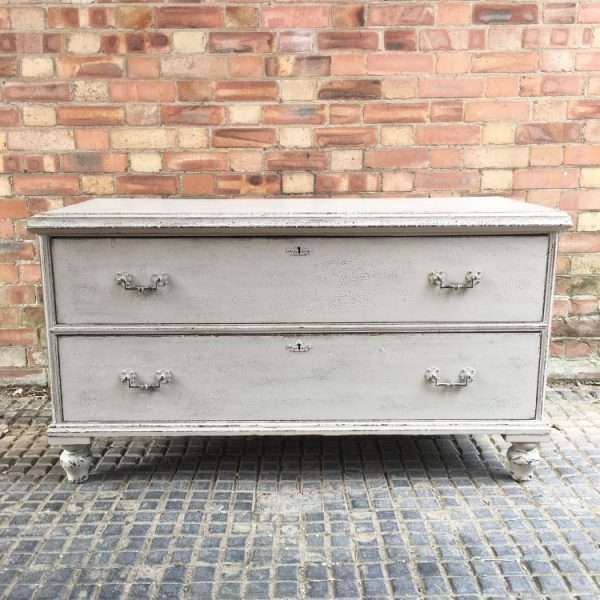 Mid Victorian Painted Pine 2 Drawer Base4