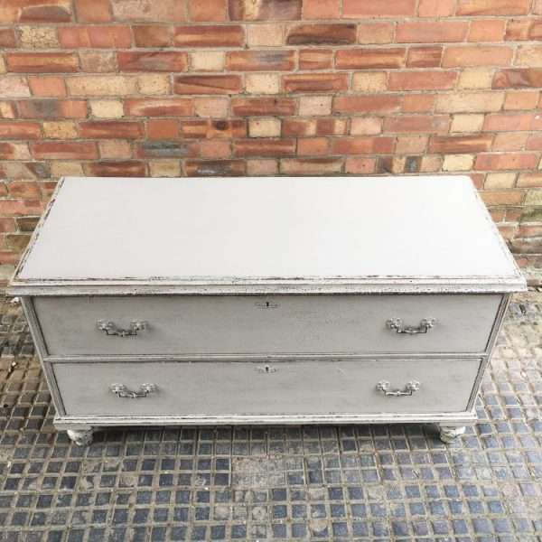 Mid Victorian Painted Pine 2 Drawer Base3
