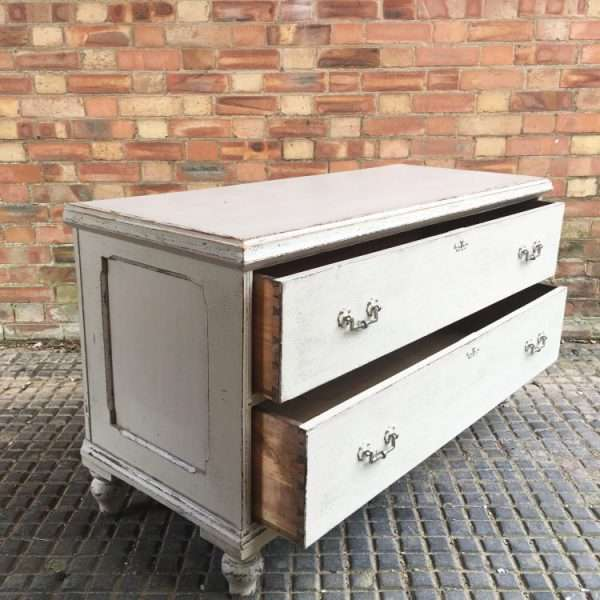 Mid Victorian Painted Pine 2 Drawer Base1