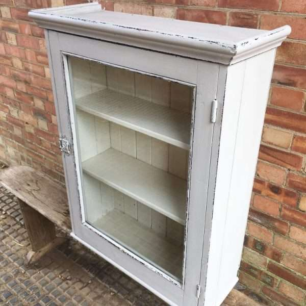Edwardian Painted Pine Wall Cabinet1