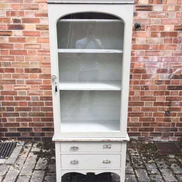 Late Victorian Painted Mahogany Glazed Cabinet3