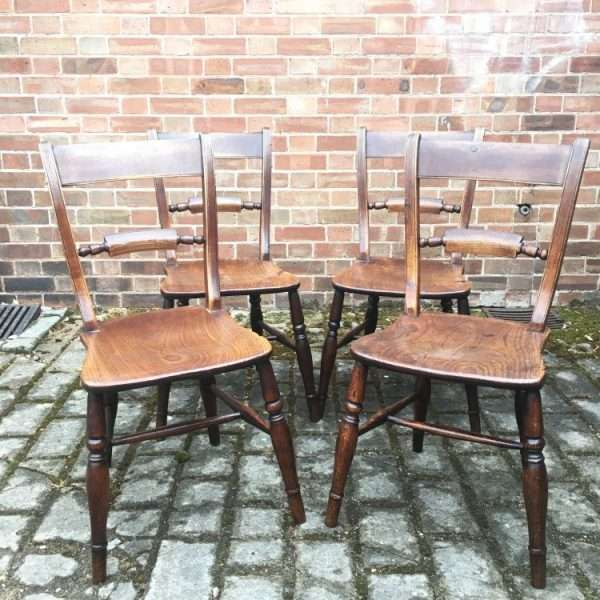 Set Of 4 Mid Victorian Elm Essex Chairs4