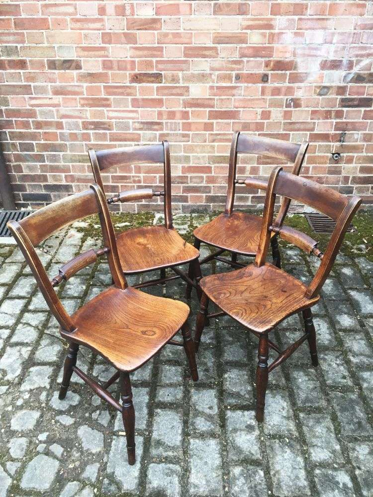 Set Of 4 Mid Victorian Elm Essex Chairs3