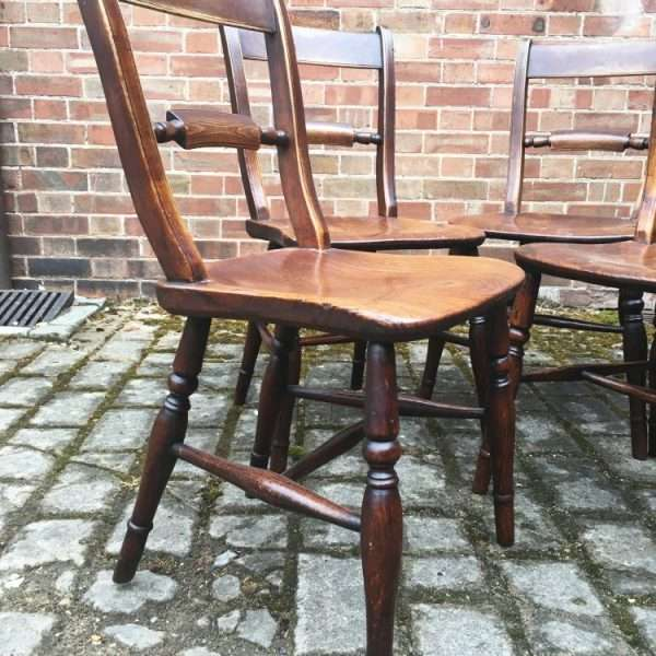 Set Of 4 Mid Victorian Elm Essex Chairs1