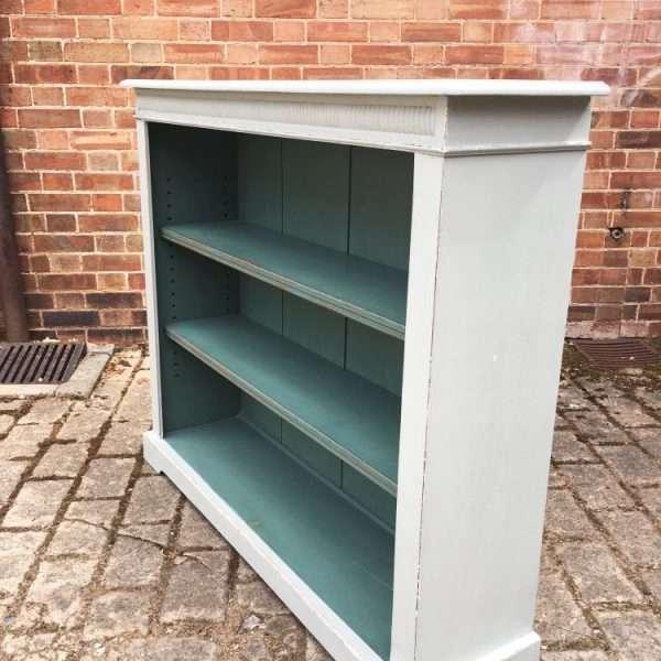 Edwardian Painted Oak Open Bookcase1