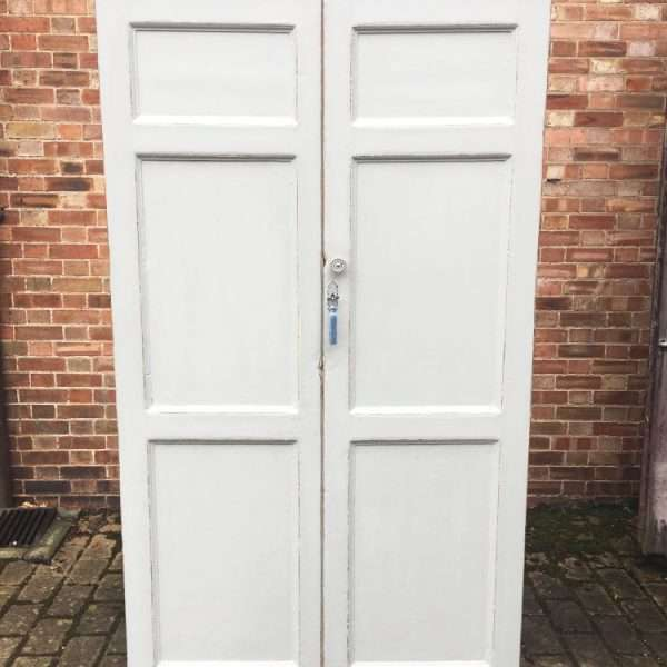 Mid 19th Century Painted Pine Linen Cupboard