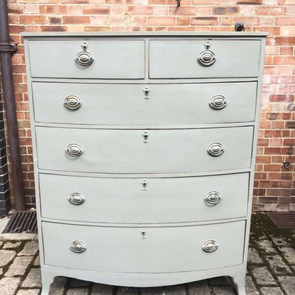 George III Painted Mahogany Bow Front Chest