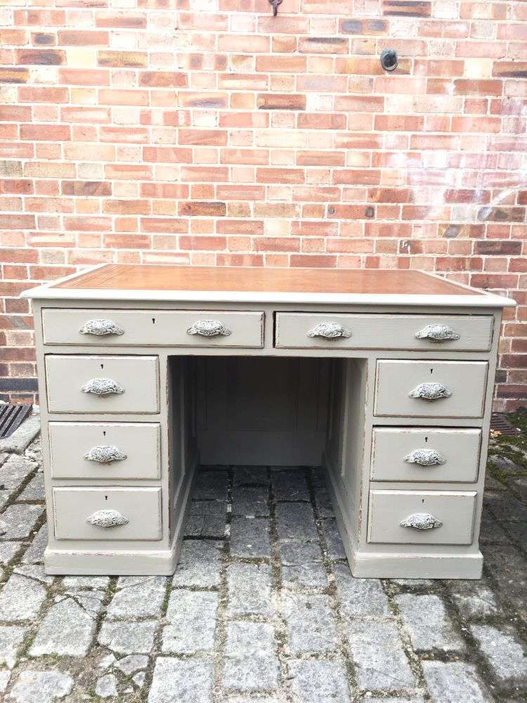 Mid 19th Century Painted Pine Pedestal Desk5