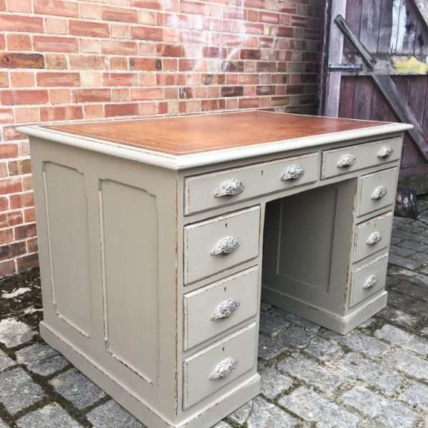 Mid 19th Century Painted Pine Pedestal Desk4