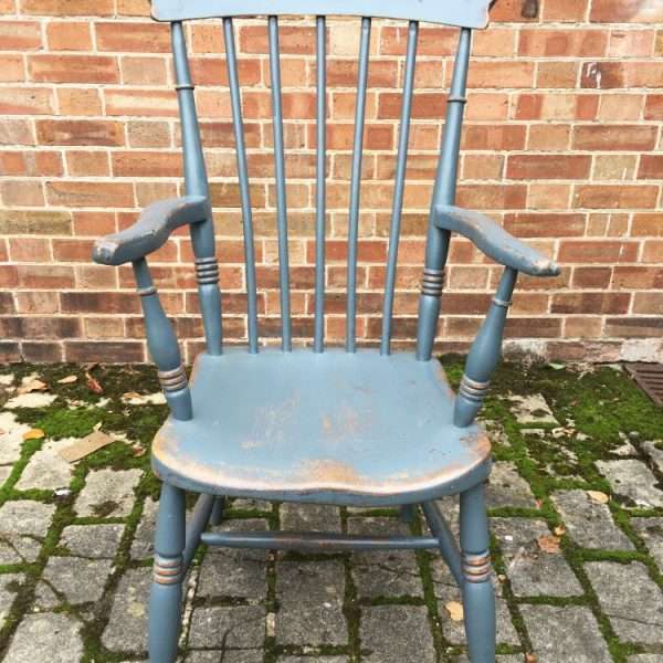 Late 19th Century Painted Elm Grandfathers Chair1
