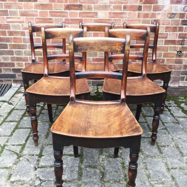 Set Of 6 Early Victorian Birch Cottage Chairs5