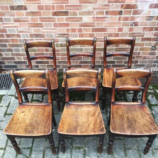 Set Of 6 Early Victorian Birch Cottage Chairs