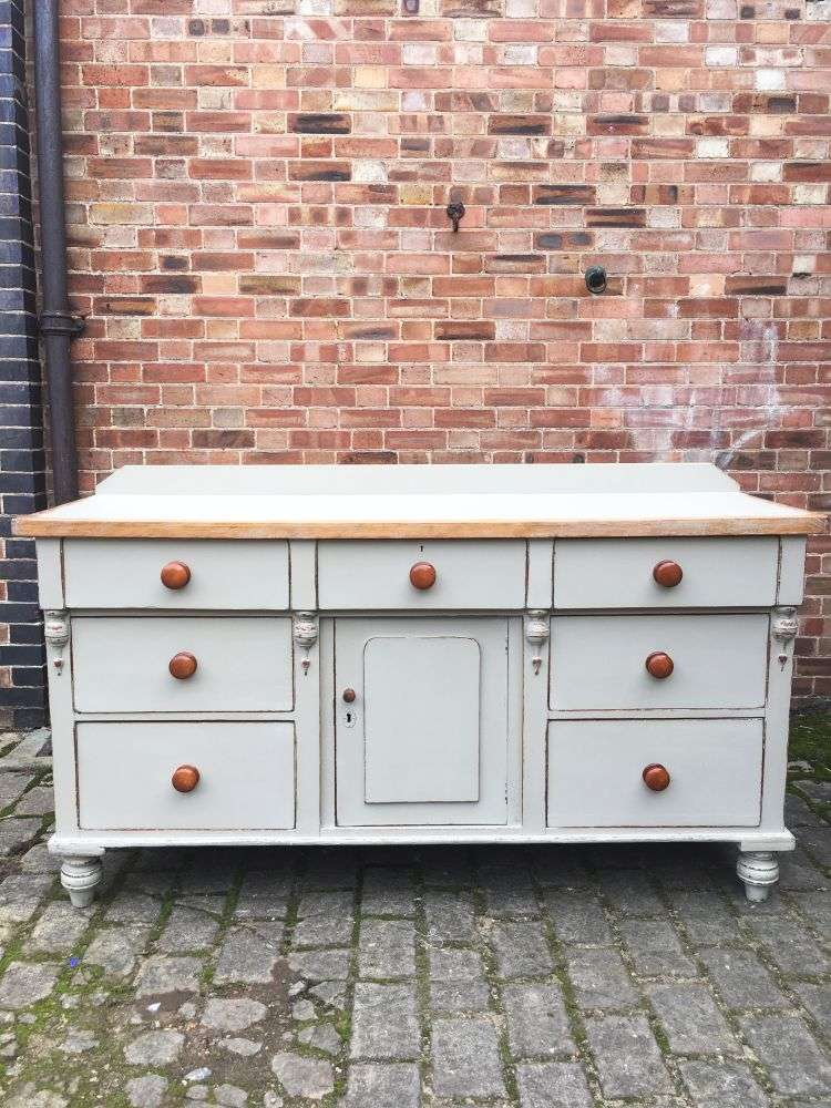 Mid Victorian Painted Pine Dresser Base5