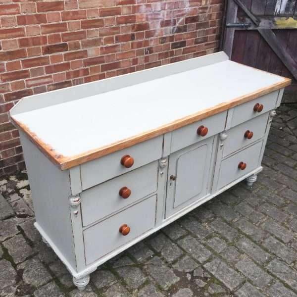 Mid Victorian Painted Pine Dresser Base4