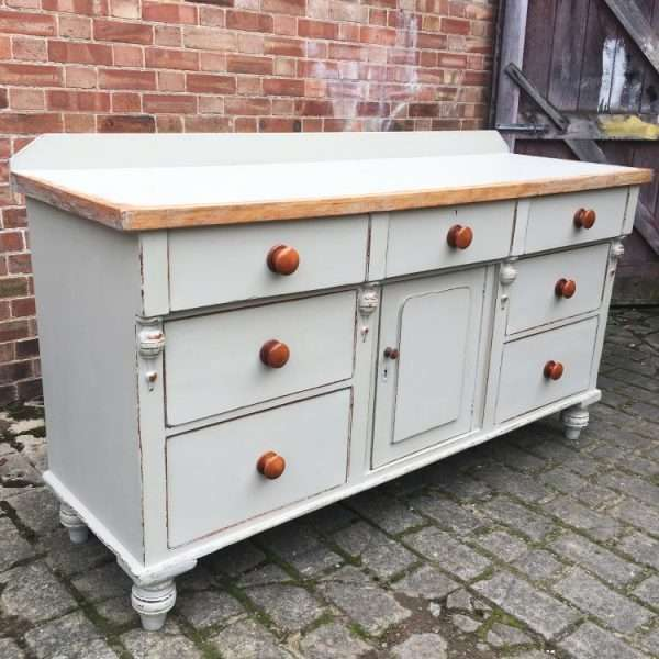 Mid Victorian Painted Pine Dresser Base3