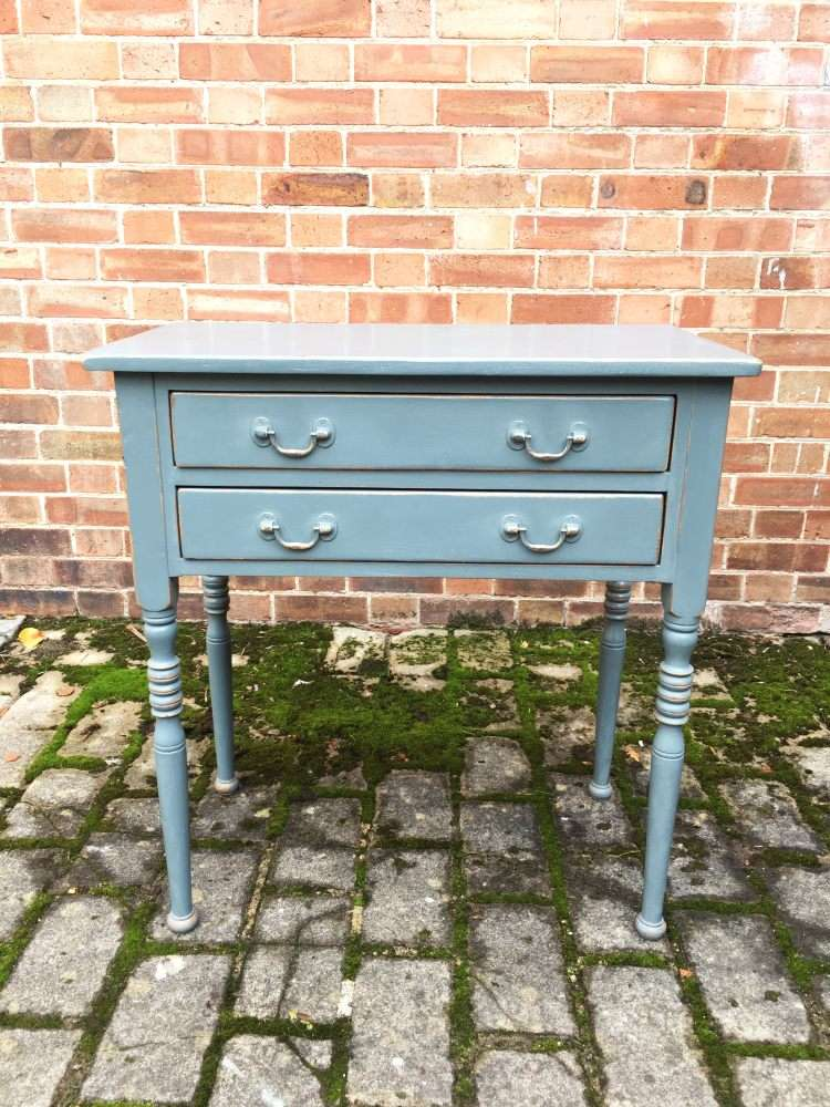 Edwardian Painted Pine Two Drawer Table