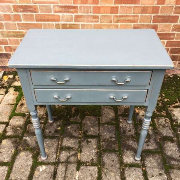 Edwardian Painted Pine Two Drawer Table1