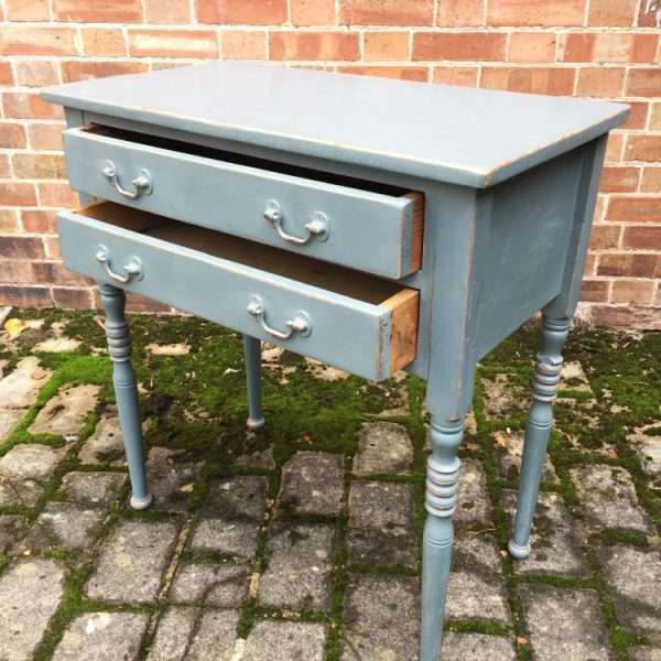 Edwardian Painted Pine Two Drawer Table3