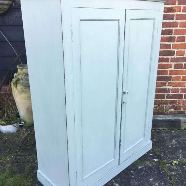 Late Victorian Painted Mahogany 2 Door Linen Cupboard