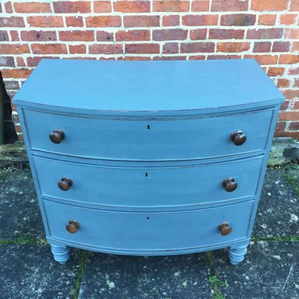 Early Victorian Painted Mahogany Bow Front Chest2
