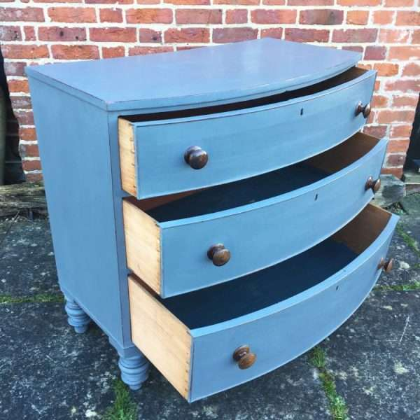Early Victorian Painted Mahogany Bow Front Chest1