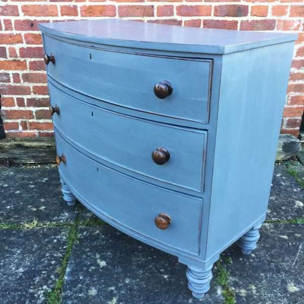 Early Victorian Painted Mahogany Bow Front Chest