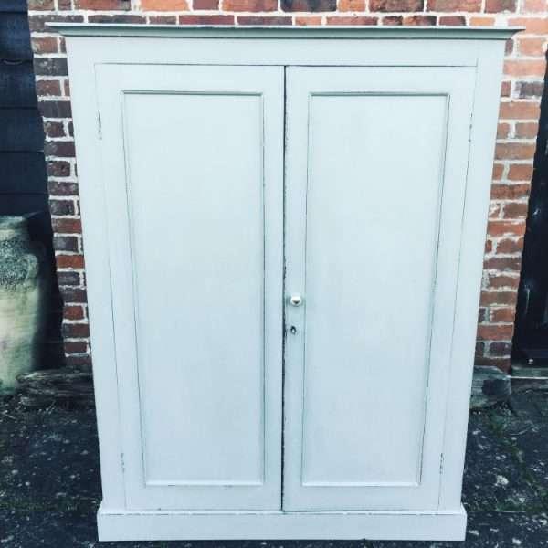 Late Victorian Painted Mahogany 2 Door Linen Cupboard3