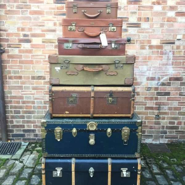 Graduated Stack Of Antique Trunks & Cases