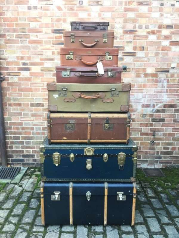 Graduated Stack Of Antique Trunks & Cases SOLD – Ref:1345