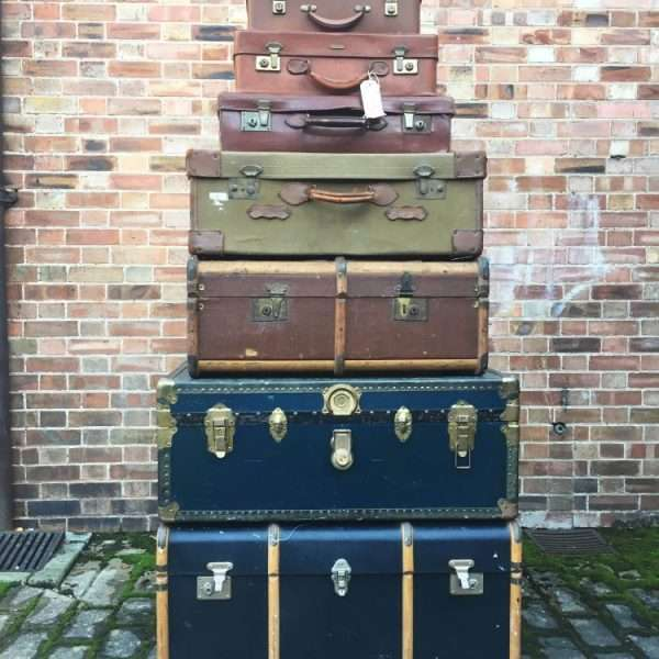 Graduated Stack Of Antique Trunks & Cases4